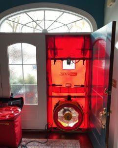 Home performance blower door test